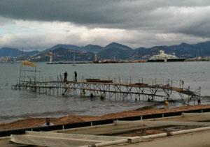 A broken pier in Cannes due to freak waves