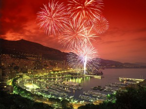 Fireworks over Monaco for the Royal Wedding of Prince Albert