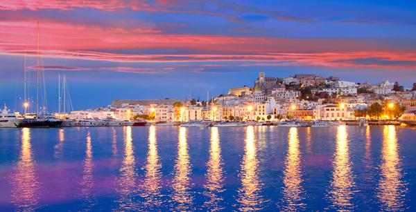 Yachts moored in Ibiza