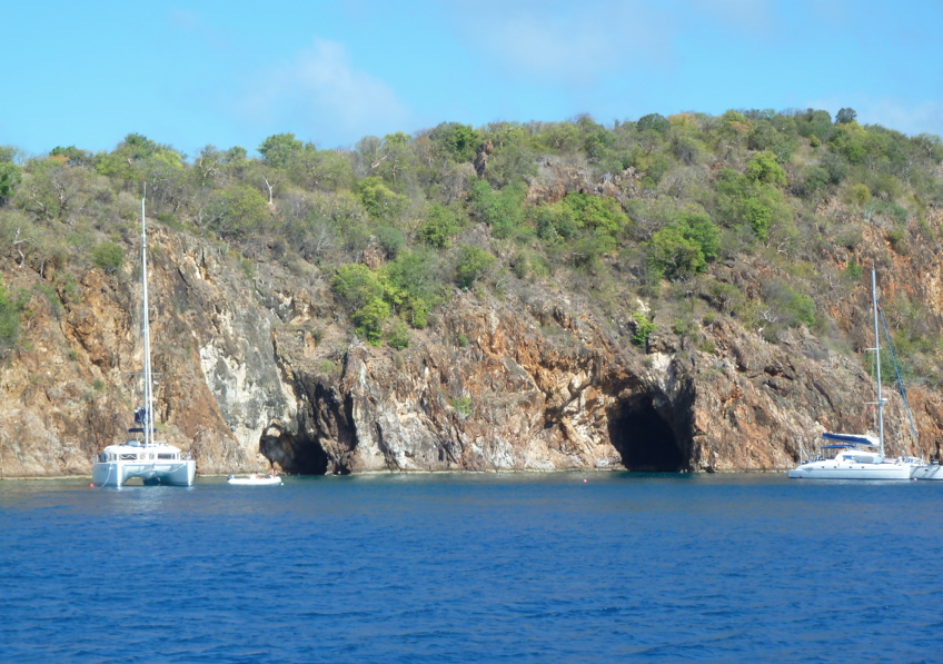 Approaching the Caves on Norman Island