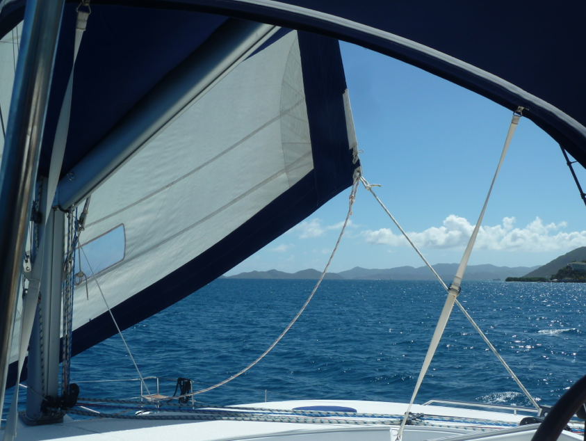 Sailing toward Norman Island in the BVI