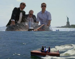 Justin Timberlake on board a yacht by the statue of liberty