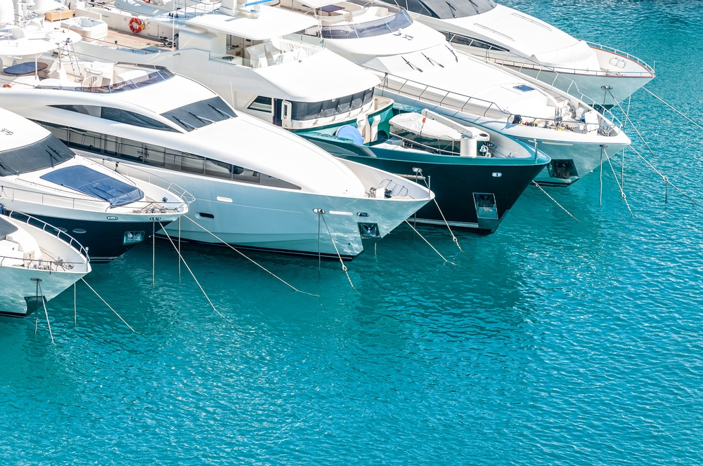 Yachts Moored in Turqouise Waters