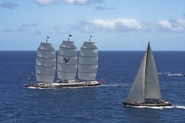 "The incredible Maltese Falcon at last years ""Bucket"" in St Barts"