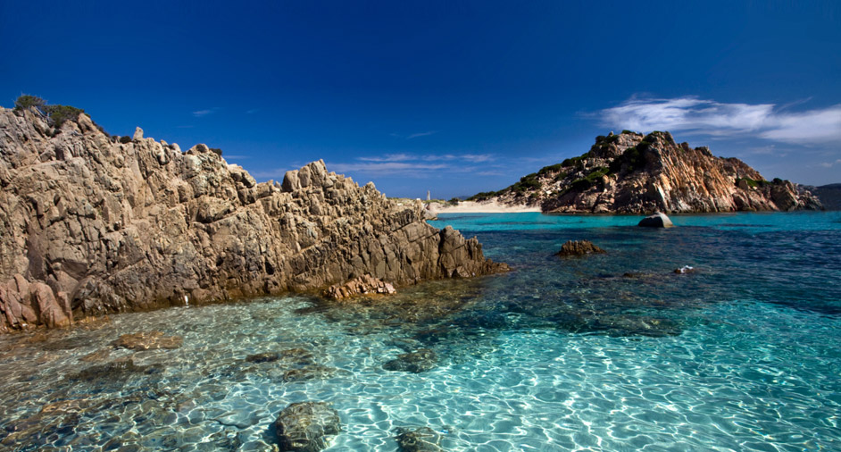 Crystal clear waters surround La Maddalena