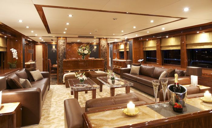 The Interior Is Full Of Rich Colours Matched With Huge Windows Flooding Yacht A Positive Feeling And Plenty Natural Light