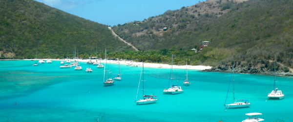 Boats moored in White Bay on Jost Van Dyke, BVI