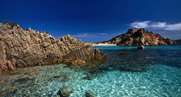 The crystal clear waters of the Maddalena Archipelago, Sardinia