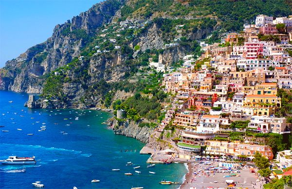 The colourful buildings built in to the rugged coastline in Positano