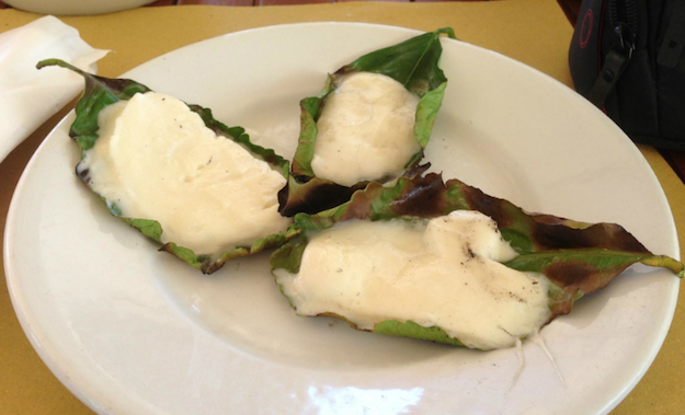 Mozerella Grilled on Lemon Leaves, Da Adolfo