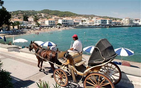 Cars are banned from the island of Spetses so locals get around the 'old-fashioned' way!