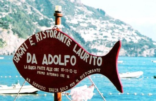 The fish mounted on the mast of the shuttle boat service to Da Adolfo, Positano