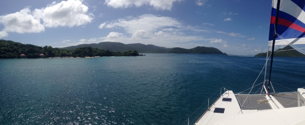 Caribbean Crewed Catamran cruising in to St John, USVI