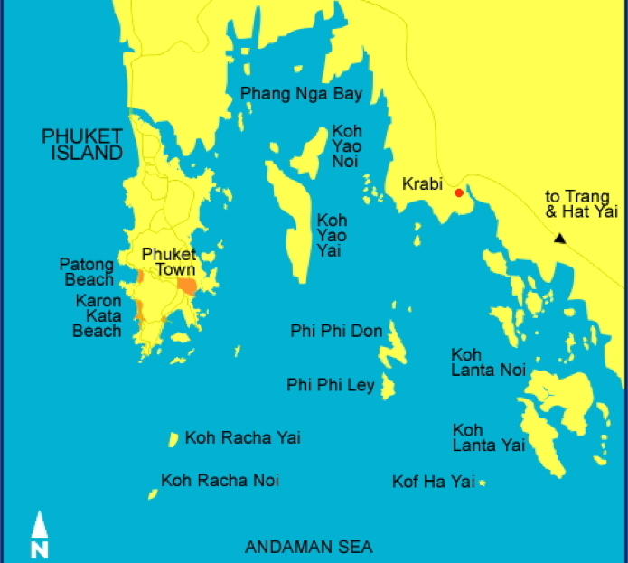 Map Of Thailand Including Phi Phi Island