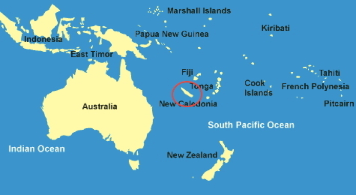 New Caledonia on world map