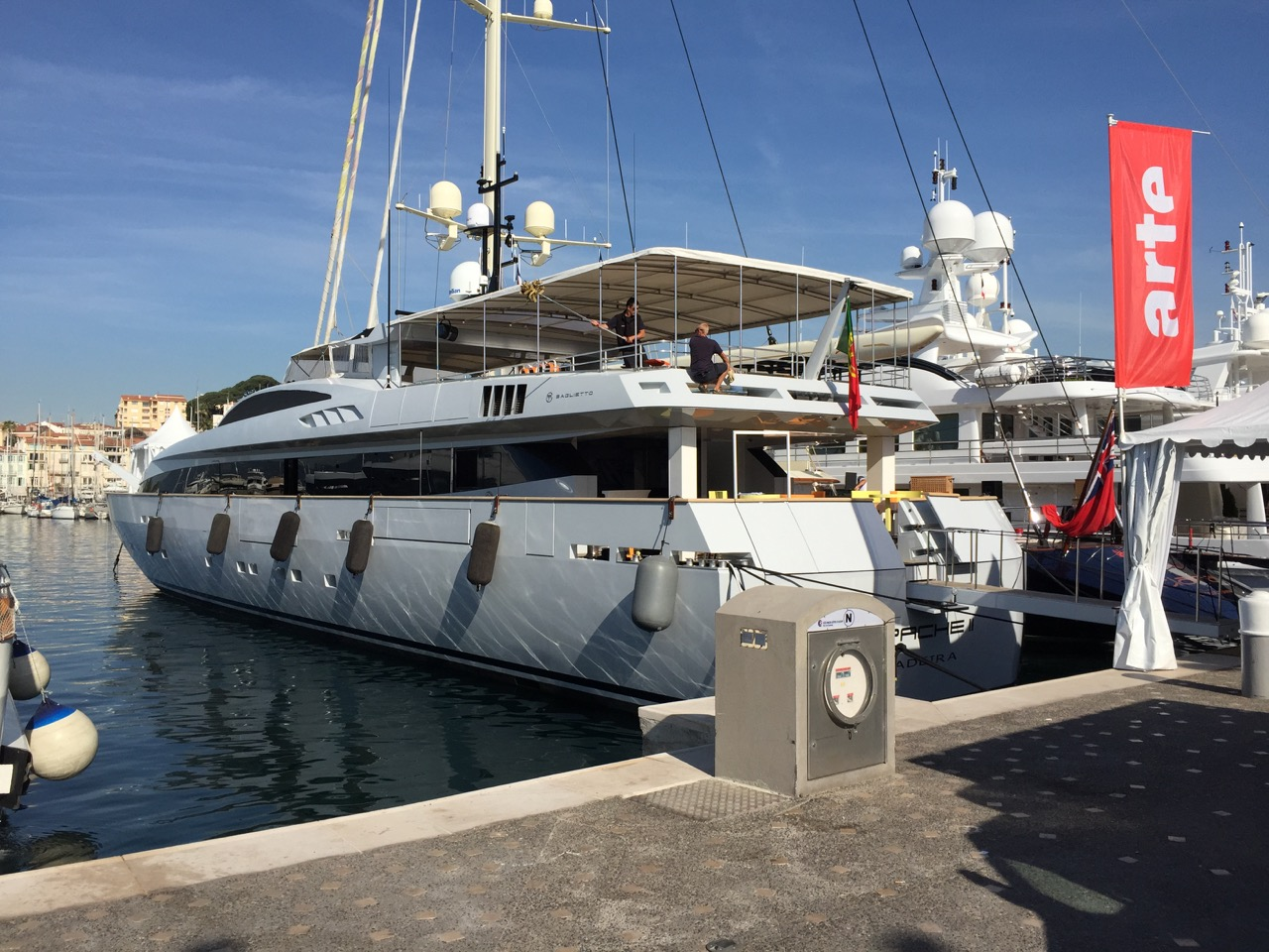 Last minute preparations on board this Baglietto for Cannes 2015