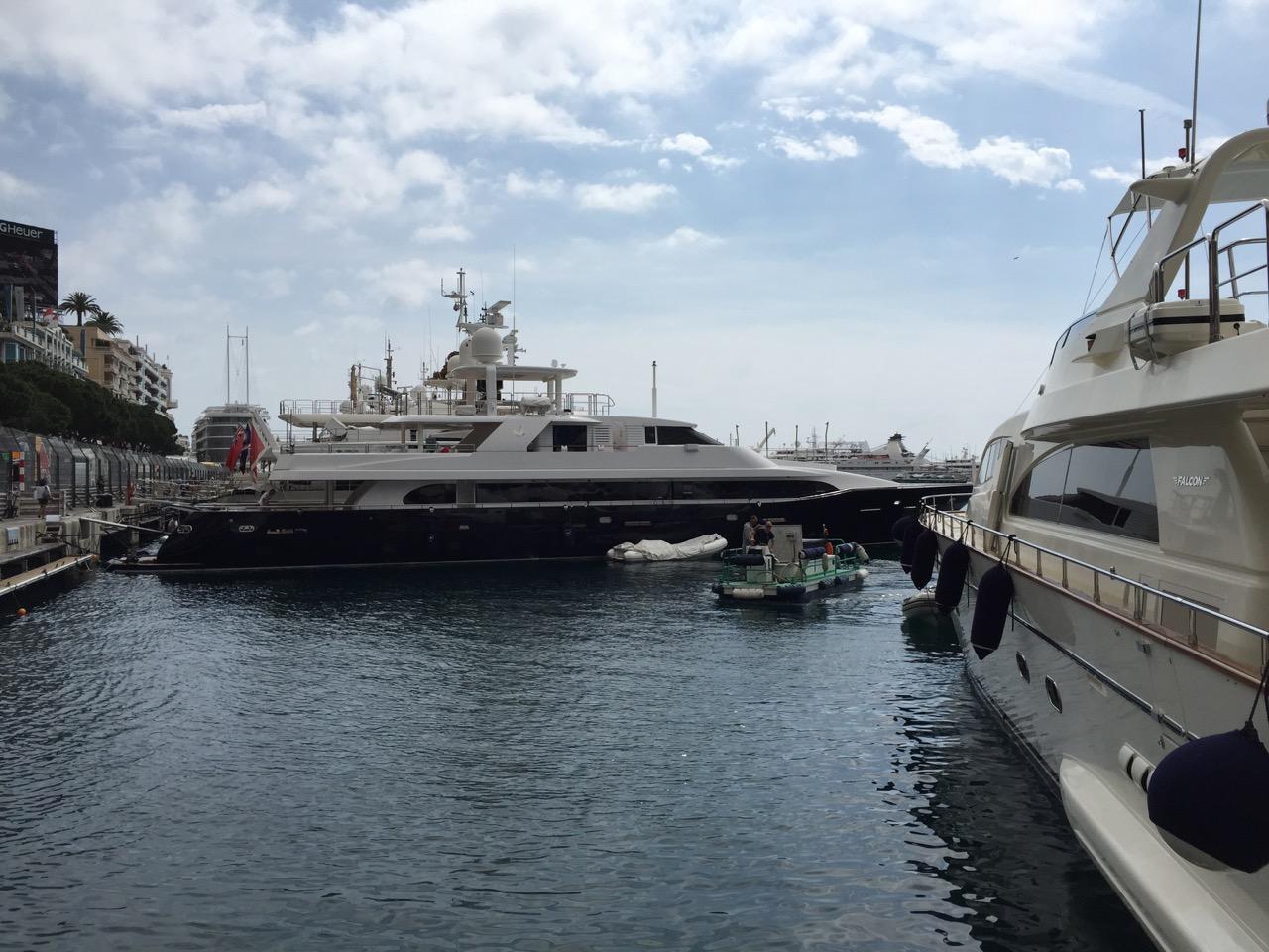 Lady in Blue at berth in Monaco on Quai Kennedy for the Grand Prix