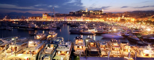 Yachts in the port of Cannes for events