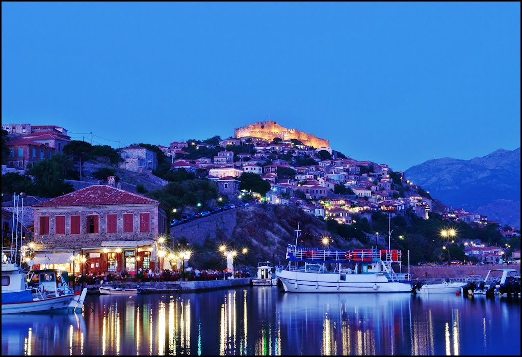 Molivos town in Lesvos, Greece