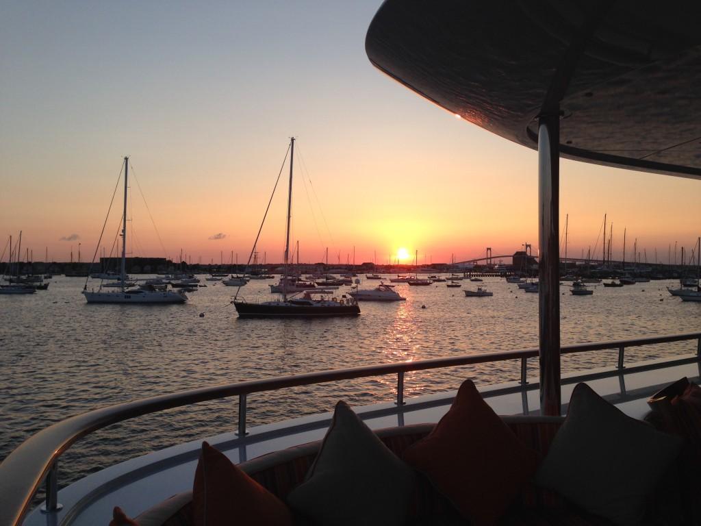 The sunset over Newport, Rhode Island