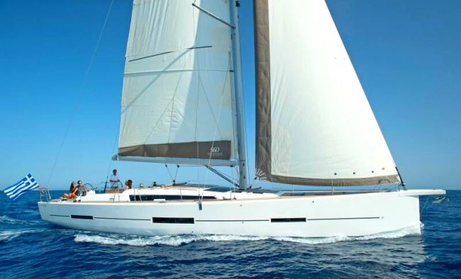 MIMOSA, a brand new Dufour Grand Large 560 peacefully sailing in the Greek Islands