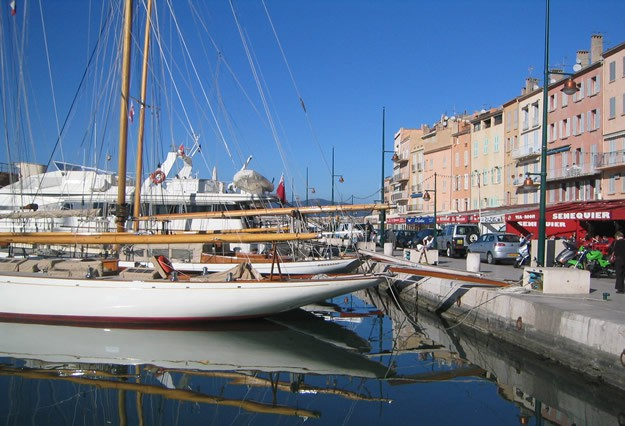 Yachts moored in St Tropez old port