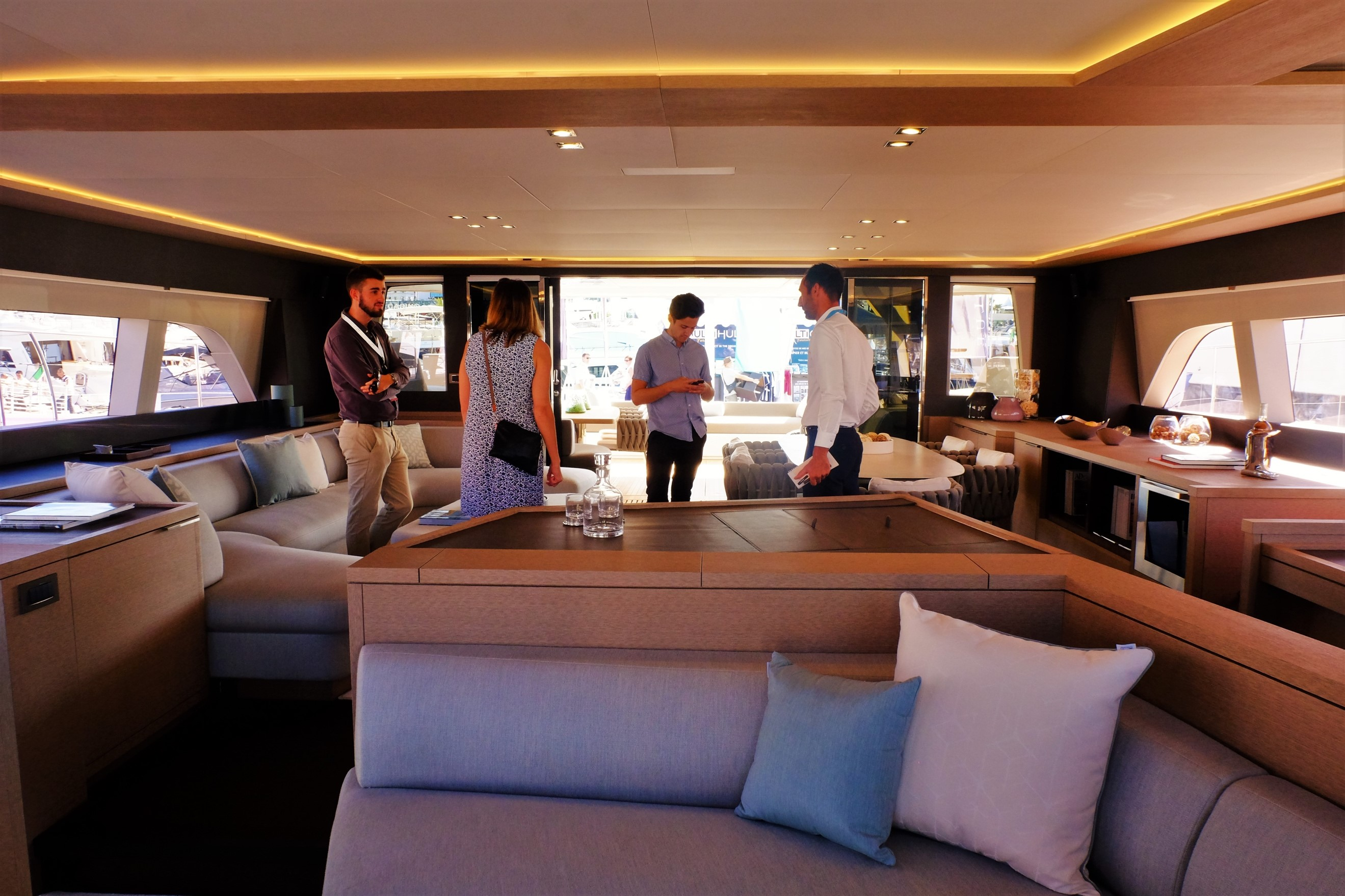 The Innovative Design Of Saloon Allows For Further Sofa Space Whilst Keeping Captains Controls Separate From Guests