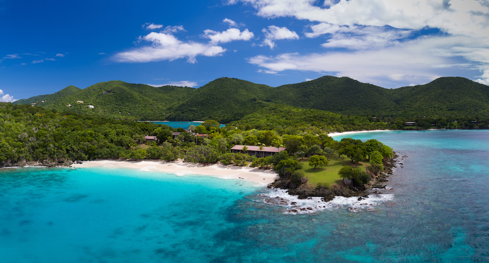 Aerial view of turtle bay, caneel bay, st john yacht charter usvi itinerary