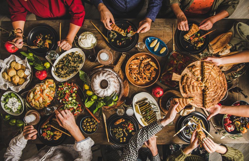 turksih food on charter mixed mezze